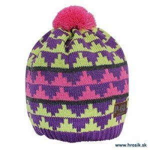 Zimná pletená čiapka s brmbolcom pre dievčatá ružovo-žltá
