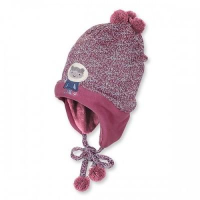 Zimná pletená čiapka s brmbolcami pre dievčatá bordová