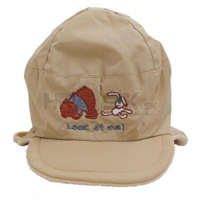Nepremokavá čiapka pre chlapcov hnedá