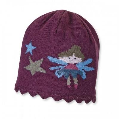 Zimná pletená čiapka pre dievčatá s vílou bordová