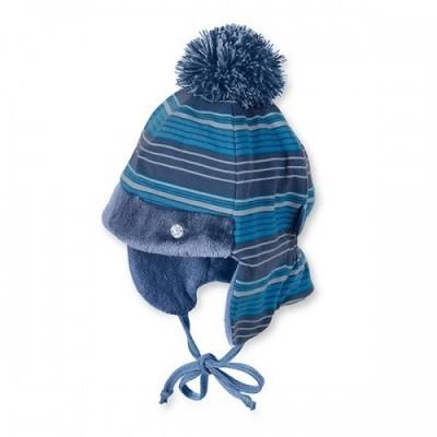 Zimná bavlnená čiapka na viazanie pre chlapcov modrá