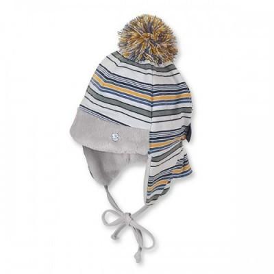 Zimná bavlnená čiapka na viazanie pre chlapcov sivo-žltá