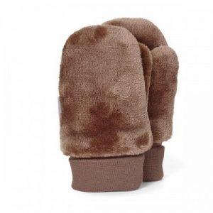 Detské zimné palcové rukavice pre chlapcov hnedé