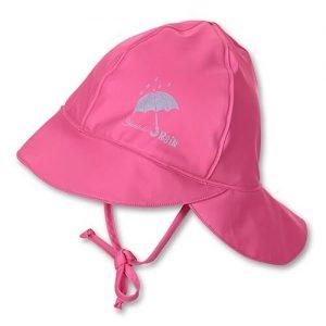 Nepremokavá čiapka s plachetkou pre dievčatá ružová