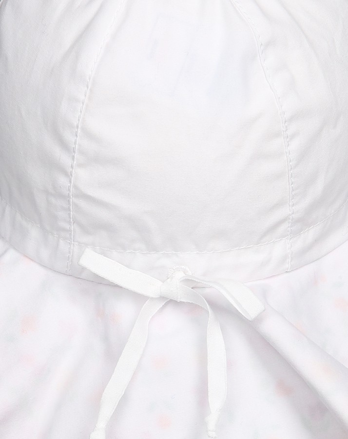Letný bavlnený klobúčik s plachetkou pre dievčatá s UV 50+ biely