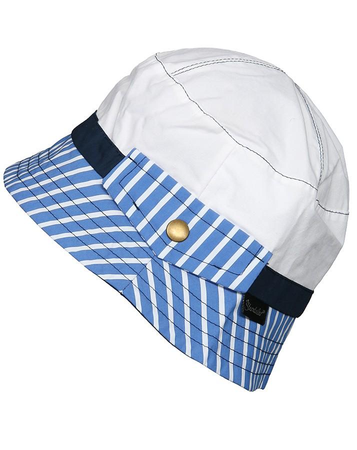 Letný bavlnený klobúčik s UV 50+ pre chlapcov bielo-modrý