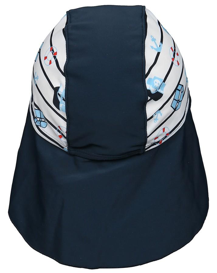 Čiapka do vody s UV 50+ pre chlapcov bielo-modrá