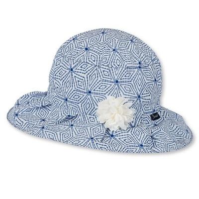 Letný bavlnený klobúčik pre dievčatá s UV 50+ modrý s kvietočkom