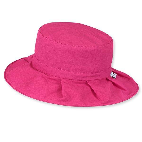 Letný bavlnený klobúčik pre dievčatká s UV 50+ bordový