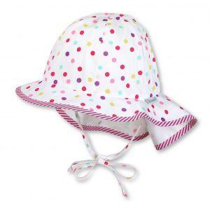 Letný bavlnený klobúk pre dievčatá s UV 30+ bodkovaný