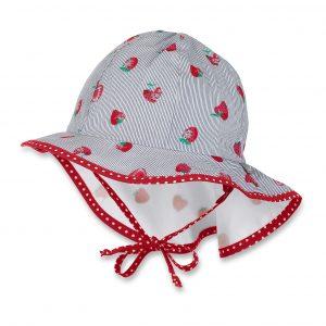 Letný bavlnený klobúk pre dievčatá s UV 30+ jahôdkový