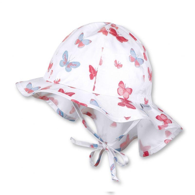 Letný bavlnený klobúčik pre dievčatá s UV 30+ motýlikový